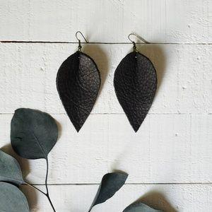 3 Inch | Black Petal Leather Earrings
